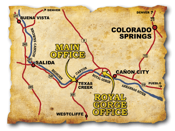 Colorado's Arkansas River Map for whitewater rafting adventures