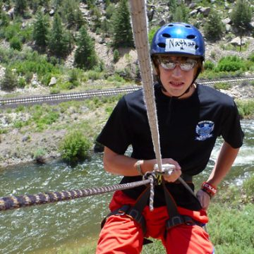 Rappelling with Arkansas River in Background Multi Day Adventure