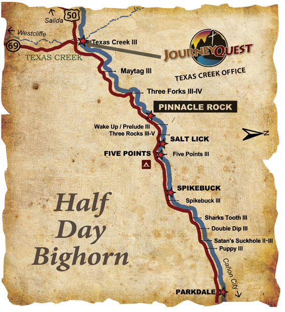 Half-Day Inflatable Kayak Arkansas River Map