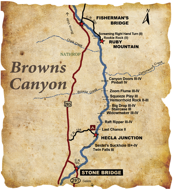 Browns Canyon Whitewater Rafting Arkansas River Map