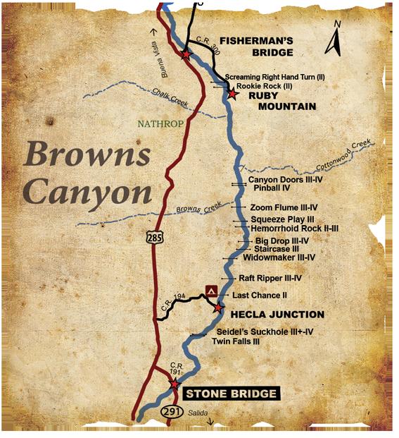Browns Canyon Whitewater Rafting Arkansas River Map