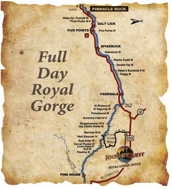 Royal Gorge Arkansas River Whitewater Rafting Map Full-Day